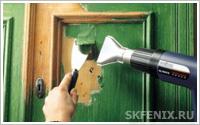 удаление старого лакокрасочного покрытия с помощью строительного фена
